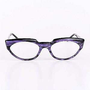 Óculos Receituário Robert La Roche Preto Rajado com Roxo Brilhante - RROCRLR257