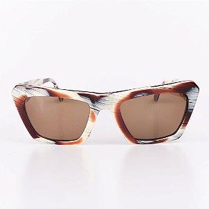 Óculos de Sol Feminino Robert La Roche Off White com Marrom - RROCSLOEWE