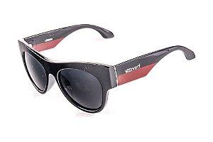 Óculos de Sol Voor Vert Preto e Vermelho com Detalhe em Prata - VVOCSLEANAN