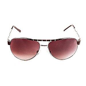 Óculos de Sol Voor Vert Aviador Dourado com Marrom