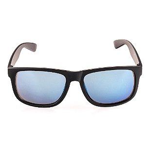Óculos Solar Voor Vert Preto Fosco com Lente Espelhada Azul - VVOCS25247-1