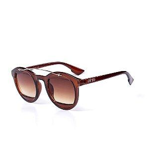 Óculos de Sol OTTO - Marrom com Detalhe Dourado