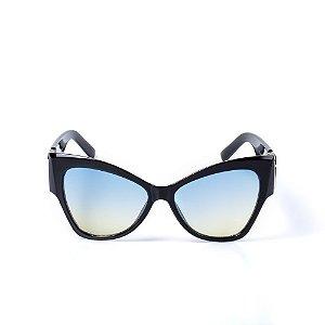Óculos de Sol OTTO - Gatinho Preto com Lente Degradê Azul