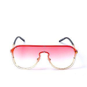 Óculos de Sol OTTO - Preto com Dourado Lente Degradê Rosa