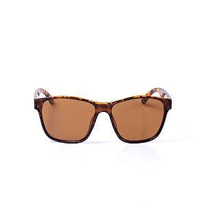 Óculos de Sol OTTO - Animal Print Marrom Quadrado