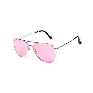 Óculos de Sol OTTO - Aviador Dourado com Lente Rosa