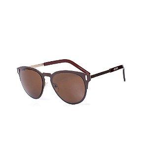 Óculos de Sol OTTO - Marrom Fosco com Dourado