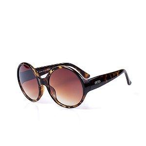 Óculos de Sol OTTO - Redondo Animal Print com Lente Degradê Marrom