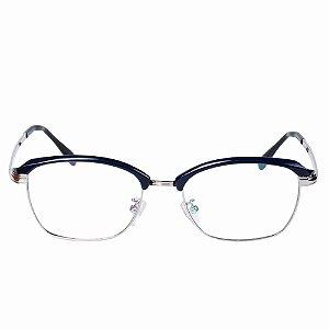 Óculos Receituário Otto Azul Escuro com Prata