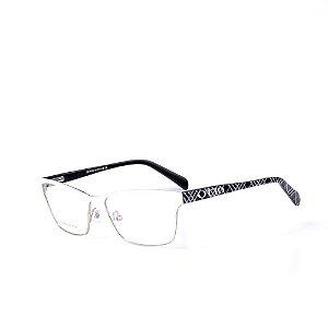 Óculos Receituário Otto - Branco Fosco com Prata e Preto estampado