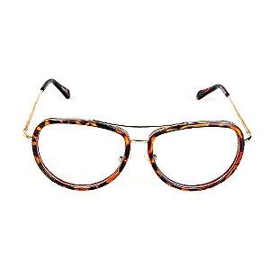 Óculos Receituário Titania Aviador Dourado com Animal Print