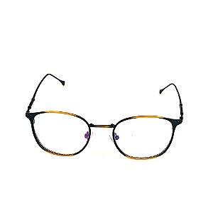 Óculos Receituário Titania Dourado com Preto Fosco