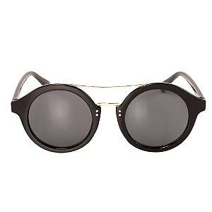 Óculos de Sol Titania Redondo Preto com Detalhe em Dourado