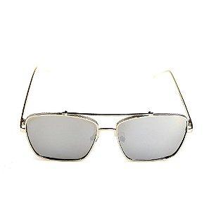 Óculos de Sol Titânia Quadrado Prata com Lente Espelhada