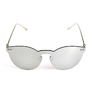 Óculos de Sol Titania Arredondado Prata com Lente Espelhada