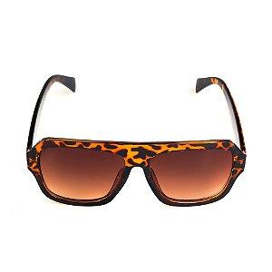 Óculos de Sol Titania Animal Print com Lente Degradê Marrom