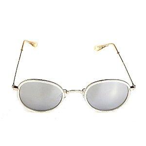 Óculos de Sol Titania Cinza com Lente Espelhada Prata