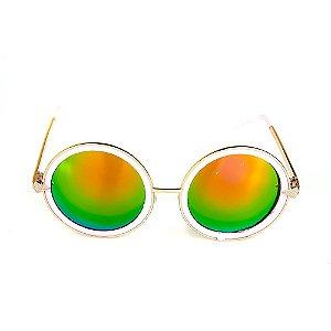 Óculos de Sol Titânia Dourado E Rosa Com Lente Espelhada Colors