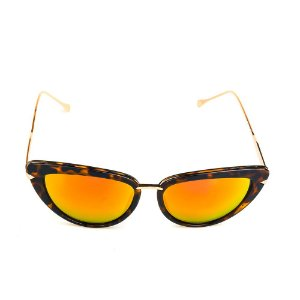 Óculos de Sol Titania Dourado Animal Print com Lente Espelhada Collors