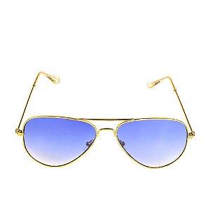 Óculos Solar Titânia Aviador Dourado Com Lente degrade
