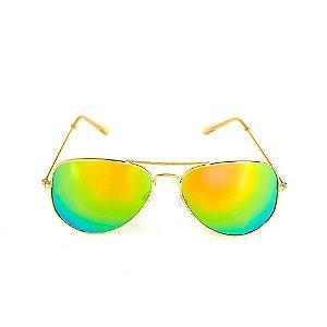Óculos Solar Titania Dourado Com Lente Espelhada Colors