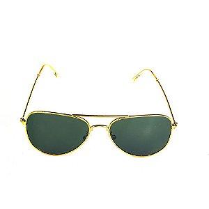 Óculos Solar Titânia Aviador Dourado Com Lente Fumê