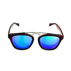 Óculos Solar Titânia Marrom E Dourado Lente Espelhada