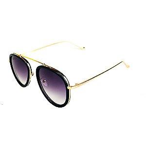 Óculos de Sol Titania Preto Fosco com Dourado e Lente Degradê