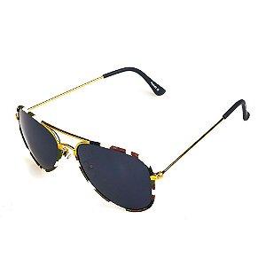 Óculos de Sol Titania Aviador Dourado com Tecido Estampado Camuflado