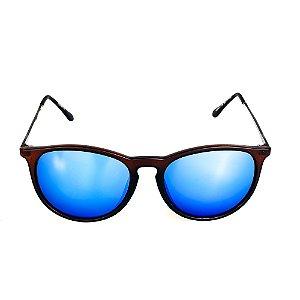 Óculos de Sol Titania Arredondado Marrom Fosco e Grafite com Lente Espelhada Azul