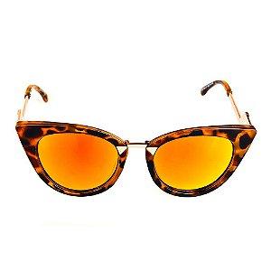 Óculos de Sol Titania Animal Print com Dourado e Lente Espelhada Colors