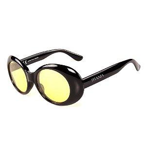 Óculos de Sol Titania Redondo Preto com Lente Amarela