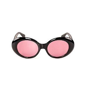 Óculos de Sol Titania Redondo Preto com Lente Rosa
