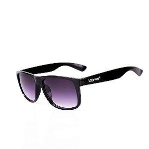 Óculos de Sol Voor Vert Preto Brilhante com Lente Degradê Roxa - VVOCS25247-0
