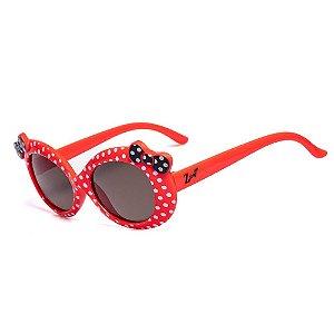 Óculos de Sol Infantil ZJim Redondo Vermelho com Lacinho Preto