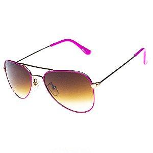 Óculos De Sol Infantil Eva Solo Aviador Dourado Com Pink Lente Degrade Marrom