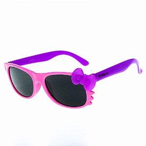 Óculos De Sol Infantil Eva Solo Quadrado Rosa Claro Com Roxo