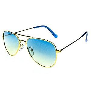 Óculos de Sol Infantil Eva Solo Aviador Dourado com Lente Degradê Azul/Amarelo