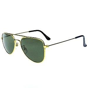 Óculos De Sol Infantil Eva Solo Aviador Dourado Com Lente Verde