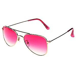 Óculos de Sol Infantil Eva Solo - Aviador Dourado com Lente Degradê Rosa