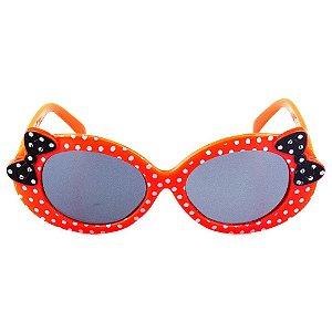 Óculos de Sol Infantil Redondo Eva Solo - Vermelho de Bolinhas com Laço Preto