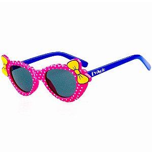 Óculos de Sol Infantil Eva Solo Gatinho Rosa de Bolinhas com Azul Escuro