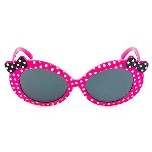 Óculos de Sol Infantil Eva Solo - Rosa com Bolinhas com Laço Preto
