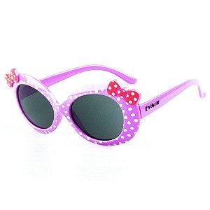 Óculos de Sol Infantil Eva Solo - Llilás de Bolinhas com Laço Rosê