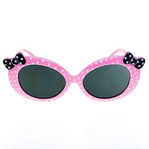 Óculos de Sol Infantil Eva Solo - Rosa Claro De Bolinhas com Laço Preto