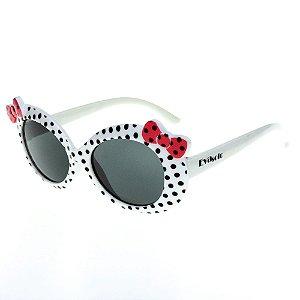 Óculos de Sol Infantil Eva Solo Branco de Bolinhas com Laço Rosê