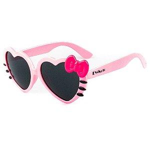 Óculos de Sol Infantil Eva Solo Coração Rosa Claro com Laço Rosa