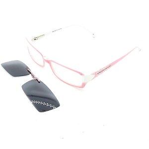 Óculos de Grau e de Sol Clip-on Magnético Retrô Prorider Rosa e Branco com Haste Fina