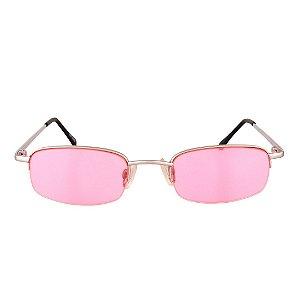 Óculos de Sol Retro Prorider Prata Fosco com Lente Rosa - TORTOLA1