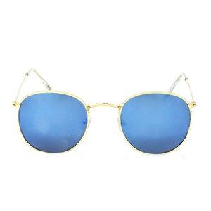 Óculos de Sol Redondo Clássico Prorider Dourado Lente Espelhada Azul